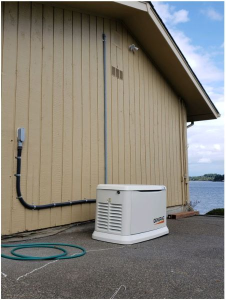 22kw installed on an Olympia waterfront home. We also installed a manual generator connection on the outbuilding, and changed out the main service panels.