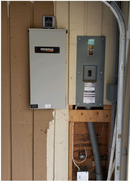 200 amp service rated transfer switch installed in the garagepowering the whole house.