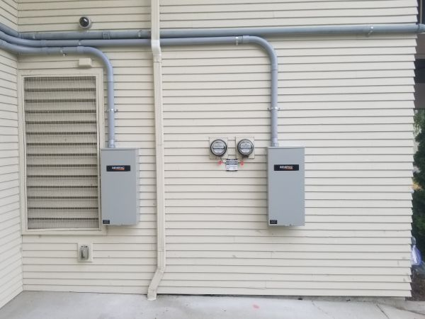 Commercial installation of dual 200 amp ATS's.